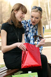 Best friends after shopping Royalty Free Stock Photos