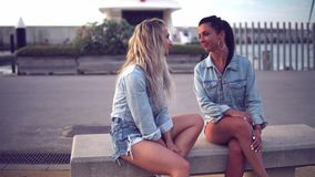 Best friends or sisters sitting and talking showing lovely relationship. They look happy stock video