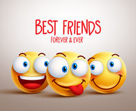Best friends smiley face vector design concept with funny facial expressions Stock Photos