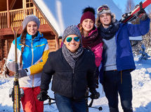 Best friends spend winter holidays at mountain cottage Royalty Free Stock Photography