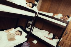 Best friends stayed overnight in hostel royalty free stock image