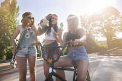 Best friends in summer time. All day spent in the skatepark with my girls royalty free stock photography