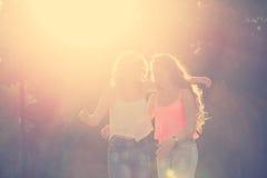 Best friends. Sunset. Stock Photos