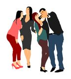 Best friends taking selfie with mobile phone vector illustration. Royalty Free Stock Photo