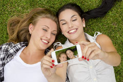 Best friends taking selfies Royalty Free Stock Photography