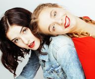 Best friends teenage girls together having fun, posing emotional on white background, besties happy smiling, lifestyle stock image