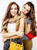 Best friends teenage girls together having fun, posing emotional on white background, besties happy smiling, lifestyle. People concept close up Royalty Free Stock Photography