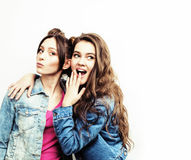 Best friends teenage girls together having fun, posing emotional on white background, besties happy smiling, lifestyle Royalty Free Stock Photo