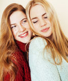 Best friends teenage girls together having fun, posing emotional Stock Images