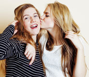 Best friends teenage girls together having fun, posing emotional Stock Image
