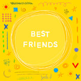 Best friends theme. Funny doodle handmade card template Royalty Free Stock Photo