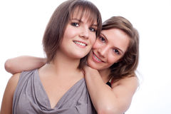 Best friends together in a white background. Stock Image