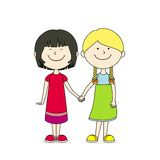 Best friends. Two best friends holding hands Royalty Free Stock Image