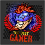 The Best Gamer -  T-Shirt Design Vector Royalty Free Stock Photo
