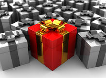 Best gift. Abstract 3d illustration of many gifts with one best Stock Photography