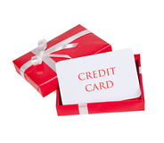 Best gift. Blank for credit card in a gift box Royalty Free Stock Images