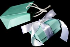 The Best Gift of All!. A little blue bag with matching gift box Royalty Free Stock Images