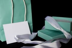 The Best Gift of All!. A little blue bag with matching gift and blank white gift card for your message Stock Image