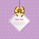 Best Gift Cover Design with Golden Bow Hanging Tag. Best gift cover design golden bow hanging on thread, place for text in square white frame isolated on Stock Images