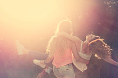 Best girlfriends. Sunset. Royalty Free Stock Images
