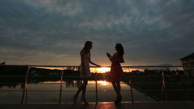 Best girlfriends talking on sunset. Silhouettes of hipster young women. The concept of true friendship. Best girlfriends talking on sunset. Silhouettes of stock video
