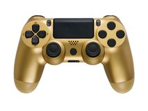Best Golden gaming controller isolated on white background, close up. royalty free stock photography