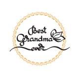 Best Grandma Ever handwritten lettering. Grandparents day emblem Royalty Free Stock Photos