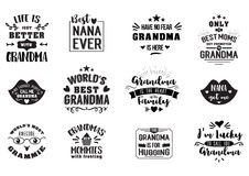 Best grandma handwritten in black. Brush, grandparents day badges, get promoted to grandmother, luckily to call, typographic design logo in calligraphy style Stock Image