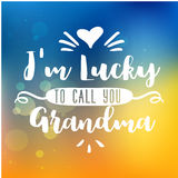 Best grandma handwritten in white. I am lucky to call you grandma. handwritten in white brush lettering quote, typographic design badges in calligraphy style Royalty Free Stock Photos