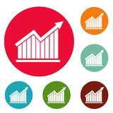 Best graph icons circle set vector. Isolated on white background Stock Photos