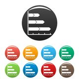 Best graph icons set collection circle. Best graph icons set in simple style many color circle isolated on white background Royalty Free Stock Photo