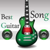 Best guitar song. Abstract colorful background with green guitar and two green loudspeakers Royalty Free Stock Photos