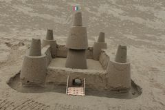 The best handmade castle with sand from the sea. Construction art crafts hobby fun concentration imagination best handmade castle sand sea stock image