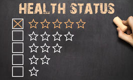 Best Health Status five golden stars.Chalkboard Royalty Free Stock Image