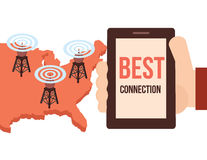 Best high speed mobile and internet  connection conceptual illustration. Stock Photo