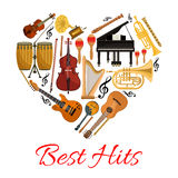 Best hits heart vector icon of musical instruments Royalty Free Stock Images