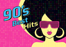 Best hits of 90s illistration with disco woman wearing glasses and on pink background. Best hits of 90s illistration with disco woman wearing glasses on pink Royalty Free Illustration