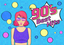 Best hits of 90s illistration with disco woman wearing glasses and pink hair on blue background Royalty Free Stock Photography
