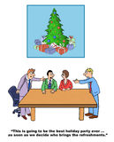Best holiday party ever. Business and Christmas cartoon showing a committee meeting, 'This is going to be the best holiday party ever... as soon as we decide who Royalty Free Stock Images