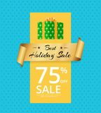 Best Holiday Sale 75 Off Present Box Gold Label Stock Image