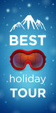 Best holiday tour and mountain with ski goggles Royalty Free Stock Photos