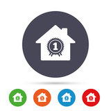Best home. First place award icon. Prize for winner symbol. Round colourful buttons with flat icons. Vector Stock Photography