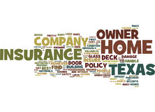 Best Home Owner Insurance Company en concept de Texas Text Background Word Cloud Photos libres de droits