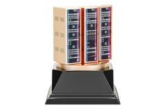 Best hosting provider award, golden server concept. 3D rendering Royalty Free Stock Photo