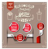 Best Hot Burgers; stickers pack.fast foodmenu restaurant design Stock Photos