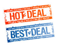 Best hot deal stamps. Best hot deal rubber stamps set Royalty Free Stock Photo
