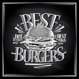 Best hot and tasty burgers chalkboard menu Stock Images
