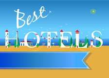 Best hotels. Travel card. Stock Image