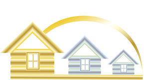 Best house. Golden house and two silver on a white background under the sun Royalty Free Stock Photo