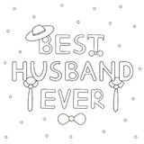 Best husband ever - hand drawn text with tie and hat Stock Photo